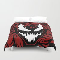 carnage Duvet Covers featuring carnage by Rebecca McGoran