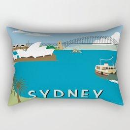 Sydney Harbour Retro Art Print Rectangular Pillow