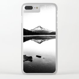 Fantastic Morning - Mount Hood Reflection Black and White Clear iPhone Case