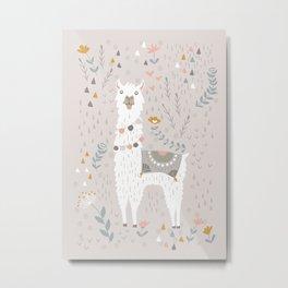 Sweet Llama on Gray Metal Print