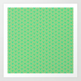 Central Spikes Mint Green Turquoise and Peach Energetic Design Pattern Art Print
