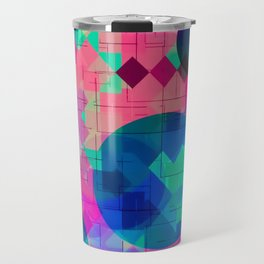 geometric square pixel and circle pattern abstract in pink blue green Travel Mug