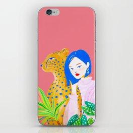 Short Hair Girl and Leopard in Garden iPhone Skin