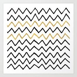Writing Exercise- Simple Zig Zag Pattern - Black on White Gold - Mix & Match Art Print