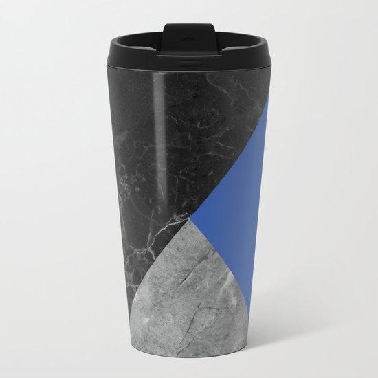 Black and white marbles and pantone lapis blue color Metal Travel Mug