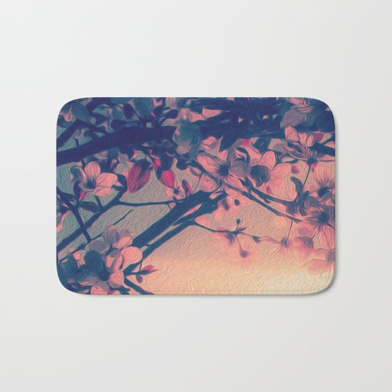 To Love and Be Loved (Spring Pink Cherry Blossoms at Dusk) Bath Mat