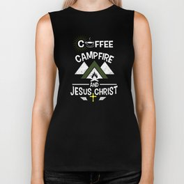 Coffee Campfire and Jesus Funny Camping T-Shirt Biker Tank