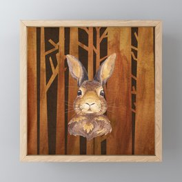 Rabbit in the forest - abstract animal hare watercolor illustration Framed Mini Art Print