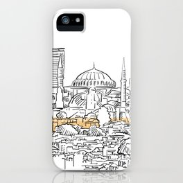 Modern and old Istanbul panorama drawing iPhone Case