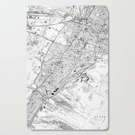 Vintage Map of Jersey City NJ (1967) BW Cutting Board