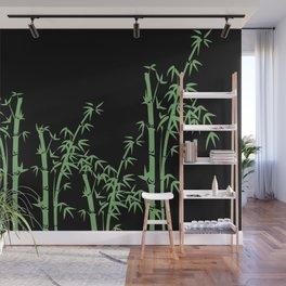 Bamboo design green - black Wall Mural