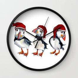 Chrismas Puffins Wall Clock