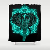 ganesha Shower Curtains featuring Ganesha by ewdondoxja