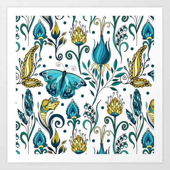 Floral pattern with butterfly Art Print