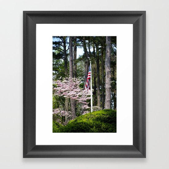 A Flag in the Forest Framed Art Print