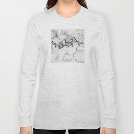Classic White Marble With Black Vein Pattern Long Sleeve T-shirt