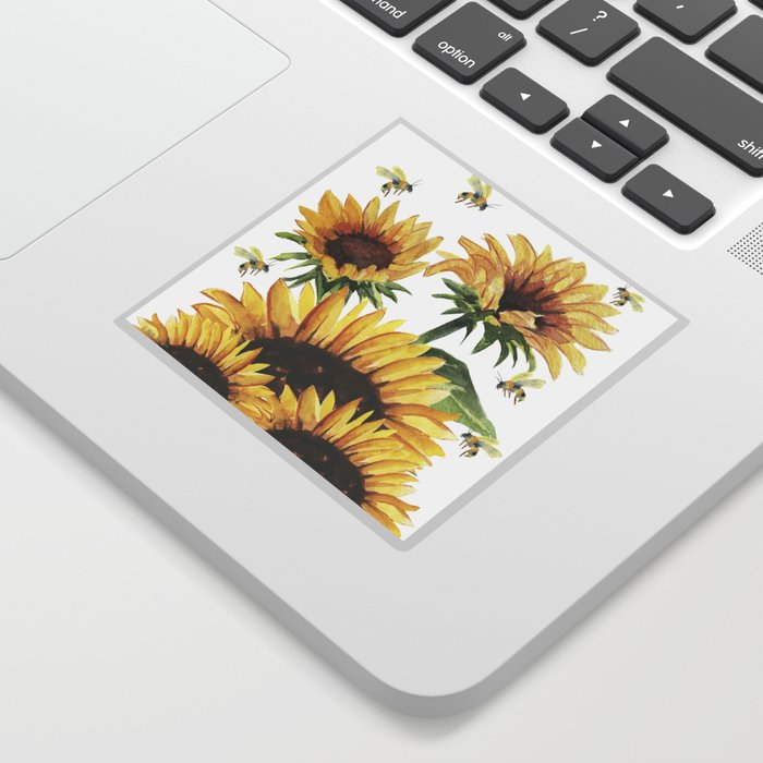 Sunflowers and Honey Bees Sticker