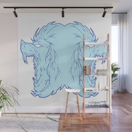 Duel lion blue Wall Mural