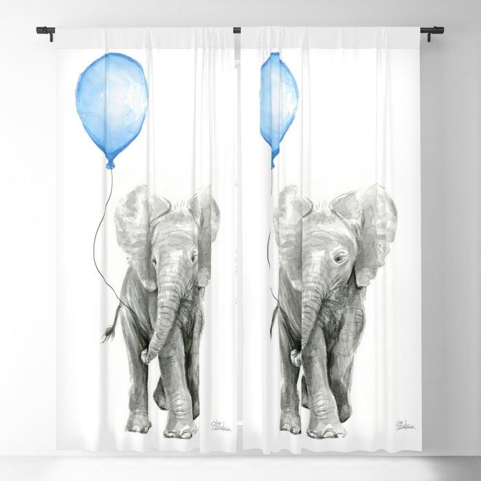 Baby Animal Elephant Watercolor Blue Balloon Boy Nursery Room Decor Blackout Curtain By Olechka