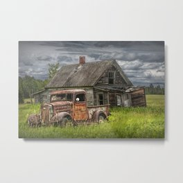Old Vintage Pickup in front of an Abandoned Farm House Metal Print