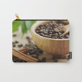 Still life of bamboo shell with fine Arabica coffee as kitchens Carry-All Pouch