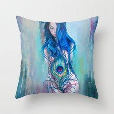 Peafowl Flow Throw Pillow