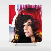 bjork Shower Curtains featuring BJORK - VOLTA by Denda Reloaded