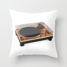 Golden Turntable Throw Pillow