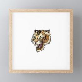 Vector Illustration Head Ferocious Tiger White Background (1) Framed Mini Art Print
