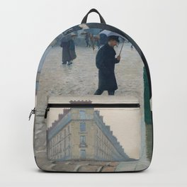 Paris Street; Rainy Day,  1877, Gustave Caillebotte Backpack