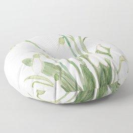 white snowdrop flower watercolor Floor Pillow