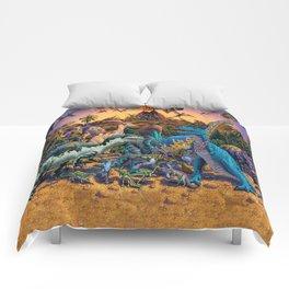 Dinosaurs flee the volcano Comforters