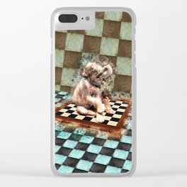 Baby Elephant on the chessboard digital art Clear iPhone Case