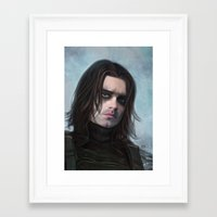 the winter soldier Framed Art Prints featuring Winter Soldier by Slugette