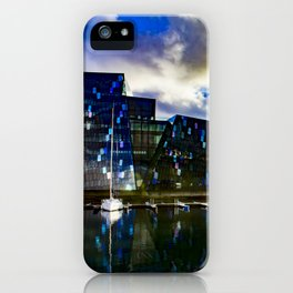 Arctic Circle Sunset Behind a Ship on the Sea behind the Harpa Concert Hall in Reykjavik, Iceland iPhone Case