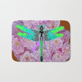 EMERALD DRAGONFLY PINK ROSES COFFEE BROWN Bath Mat