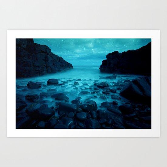 Blue Rocks Ocean and Stars Art Print
