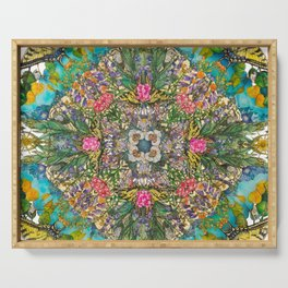 Aspendell Summer - Butterfly and Wildflower Mandala Serving Tray