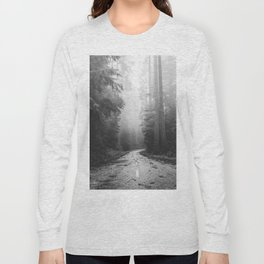 Redwood Forest Adventure Black and White - Nature Photography Long Sleeve T-shirt