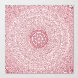 Boho Chic Glittery Pink Pastel Mandala Canvas Print