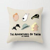 tintin Throw Pillows featuring Tintin, Minimalist by Faellen