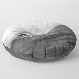 Lone Surfer in Black and White Floor Pillow