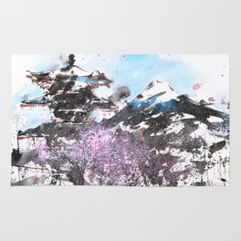 Combination No.32 Spring time Mt.Fuji and Pagoda in Japan Rug
