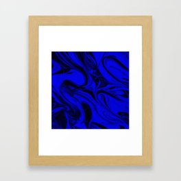 Black and Blue Swirl - Abstract, blue and black mixed paint pattern texture Framed Art Print