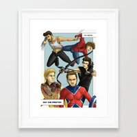 1d Framed Art Prints featuring 1D superheroes by Aki-anyway