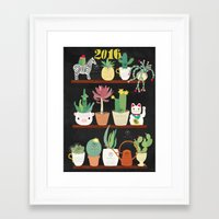 calender Framed Art Prints featuring Cacti Calender 2016 by Elisandra