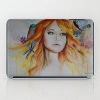 jennifer lawrence iPad Cases featuring Jennifer Lawrence Watercolor  by Halinka H