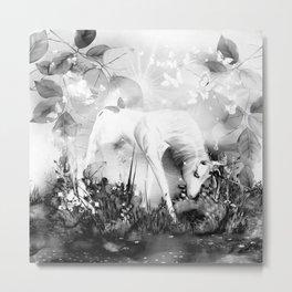 Einhorn - schwarz-weiß Metal Print