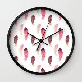 Pastel pink brown burgundy watercolor hand painted feathers Wall Clock