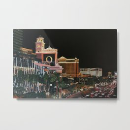 Las Vegas Strip Oil On Canvas Metal Print